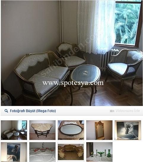Antika yağlı tablo beraberinde ikinci el mobilyalar