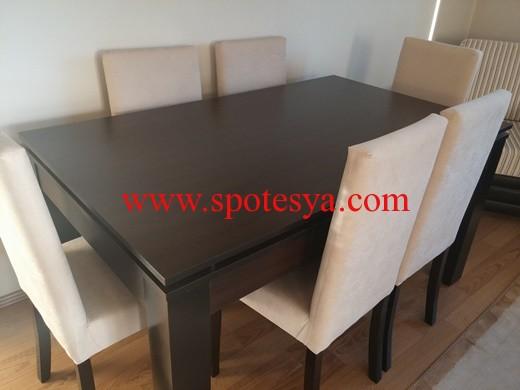 ikinci el 6 kişilik dikdörtgen yemek masası