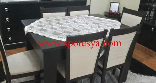 6 kişilik siyah beyaz yemek masası