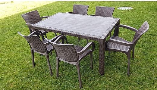 6 kişilik bahçe için plastik masa sandalye
