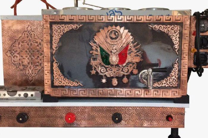 Osmanlı armalı 3 demlikli bakır çay ocağı kazanı
